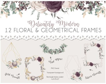 Watercolor Wedding Floral and Geometrical Frames and Wreaths - PACK of 12
