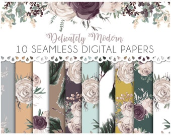 Floral and Greenery Wedding Watercolor Seamless Digital Papers - Set of 10