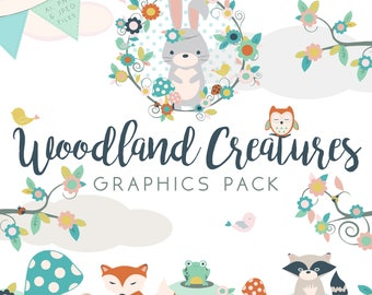 Woodland Creatures Graphics Clip-art Set  - Fully Editable Ai Files Included