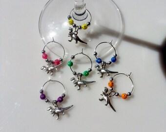 Set of 6 - TRex / Dinosaur Wine Charms