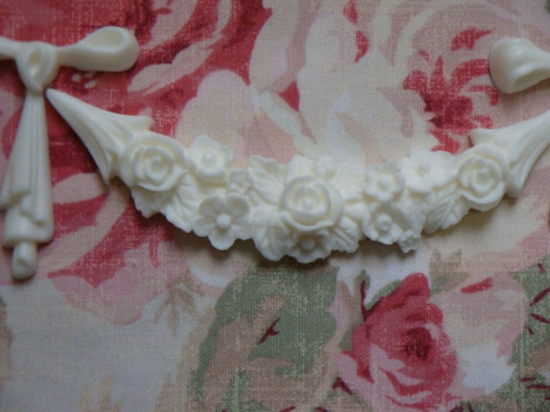Rose Floral Bow Festoon Garland 3 x 15 14 Furniture Applique Architectural Onlay New