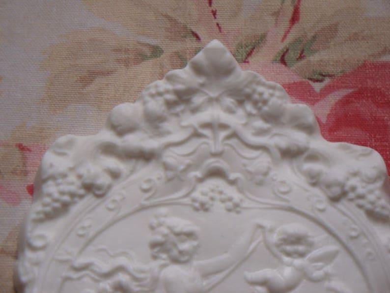 Shabby n Chic Ornate Cherub Goddess Architectural Furniture Plaque Pediment New