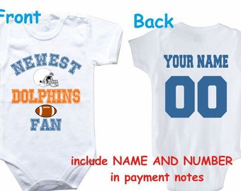 ec5f7839e Baby bodysuit Newest fan Dolphins customized personalized NAME NUMBER One Piece  Bodysuit Funny Baby Child boy Clothing Kid's Shower boy