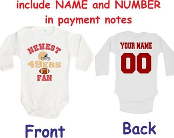 49ers baby bodysuit newest fan 49ers customized personalized name number one piece bodysuit funny baby child boy clothing kids shower boy