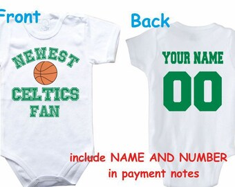 Baby bodysuit Newest fan Celtics customized personalized NAME NUMBER One  Piece Bodysuit Funny Baby Child boy Clothing Kid s Shower boy 431c3b2df