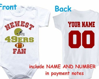 34177da1223 Baby bodysuit Newest fan 49ers customized personalized NAME NUMBER One  Piece Bodysuit Funny Baby Child boy Clothing Kid s Shower boy