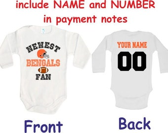 4a6807f71 Bengals Baby bodysuit Newest fan customized personalized NAME NUMBER One  Piece Bodysuit Funny Baby Child boy Clothing Kid s Shower boy