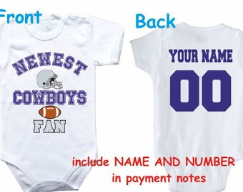 Baby bodysuit Newest fan Cowboys customized personalized NAME NUMBER One  Piece Bodysuit Funny Baby Child boy Clothing Kid s Shower boy 3a694f656