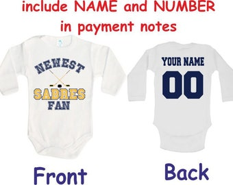 935a2c29d Sabres Baby bodysuit Newest fan Sabres customized personalized NAME NUMBER  One Piece Bodysuit Funny Baby Child boy Clothing Kid s Shower boy