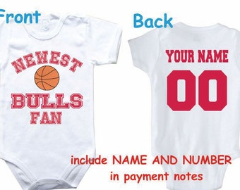 e5856d030 Baby bodysuit Newest fan Bulls customized personalized NAME NUMBER One  Piece Bodysuit Funny Baby Child boy Clothing Kid s Shower boy
