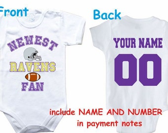 c1499fe95 Baby bodysuit Newest fan Ravens customized personalized NAME NUMBER One  Piece Bodysuit Funny Baby Child boy Clothing Kid's Shower boy