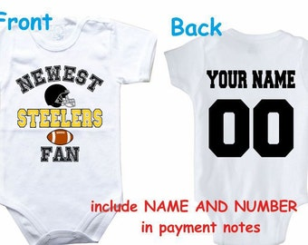 Baby bodysuit Newest fan Steelers customized personalized NAME NUMBER One  Piece Bodysuit Funny Baby Child boy Clothing Kid s Shower boy 595358aab