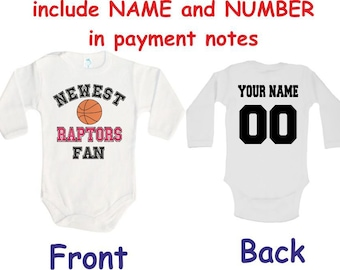 123cdf5f26b Raptors Baby bodysuit Newest fan customized personalized NAME NUMBER One  Piece Bodysuit Funny Baby Child boy Clothing Kid's Shower boy