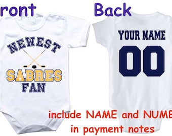 09bd6a21b Baby bodysuit Newest fan Sabres customized personalized NAME NUMBER One  Piece Bodysuit Funny Baby Child boy Clothing Kid s Shower boy