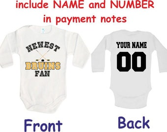 863776167df Bruins Baby bodysuit Newest fan Bruins customized personalized NAME NUMBER  One Piece Bodysuit Funny Baby Child boy Clothing Kid's Shower boy