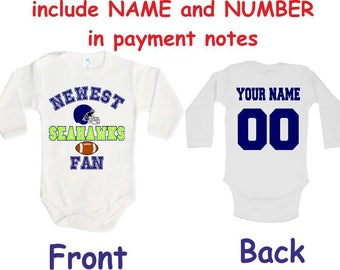 Seahawks Baby bodysuit Newest fan customized personalized NAME NUMBER One  Piece Bodysuit Funny Baby Child boy Clothing Kid s Shower boy c10990582