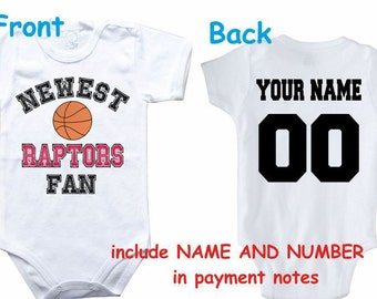 6835e46650f7 Baby bodysuit Newest fan Raptors customized personalized NAME NUMBER One  Piece Bodysuit Funny Baby Child boy Clothing Kid s Shower boy