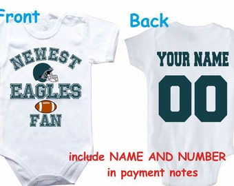 Baby bodysuit Newest fan Eagles customized personalized NAME NUMBER One  Piece Bodysuit Funny Baby Child boy Clothing Kid s Shower boy 7a767c72c