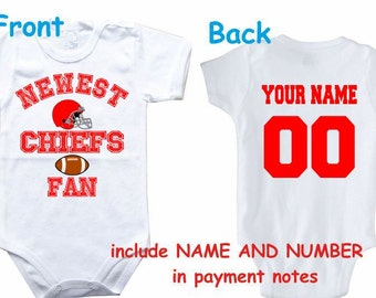 731c1e420 Baby bodysuit Newest fan Chiefs customized personalized NAME NUMBER One  Piece Bodysuit Funny Baby Child boy Clothing Kid's Shower boy