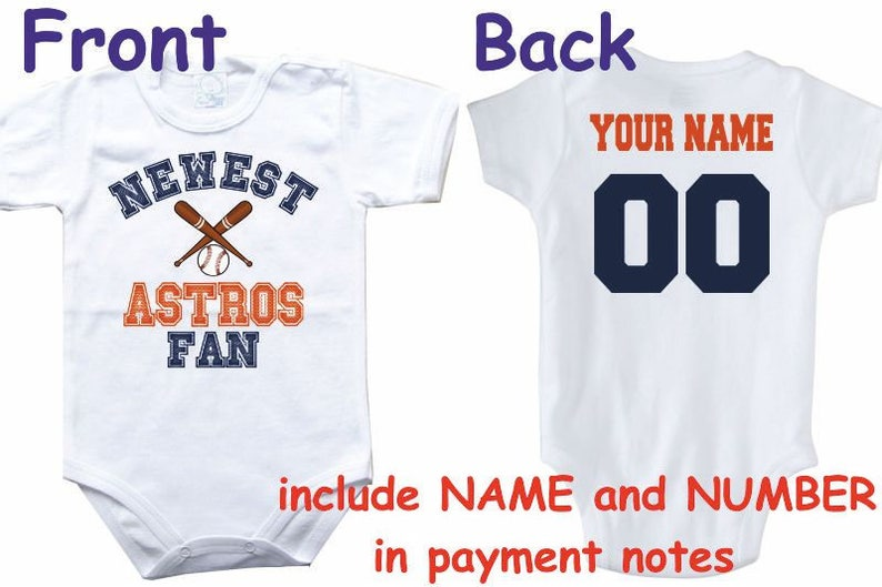 Astros Custom Personalized Name /& Number Infant or Toddler T-shirt