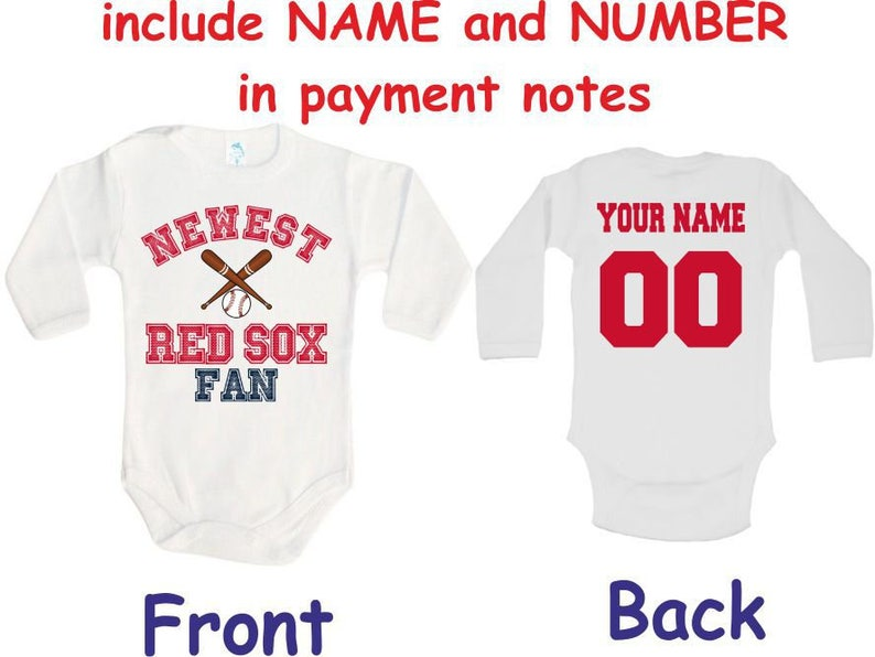245e536d8 Red Sox Baby bodysuit Newest fan customized personalized NAME