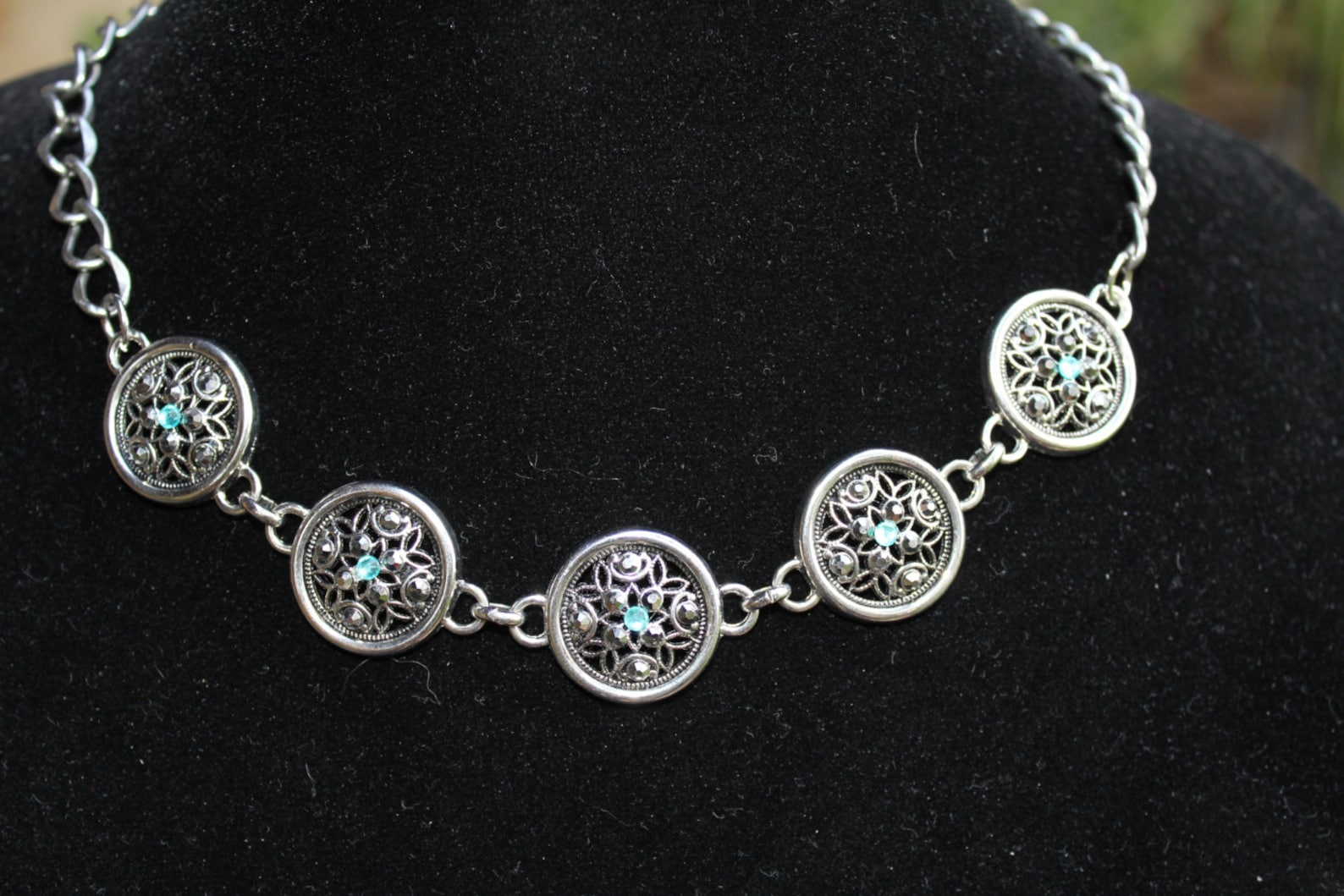 Lacey and bold choker with crystals.