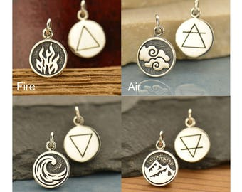 Elements - Air, Water, Fire, Earth Charms Sterling Silver, Celestial Charms, Nautical Charms, Nature Charms, 4 Elements, Four Elements