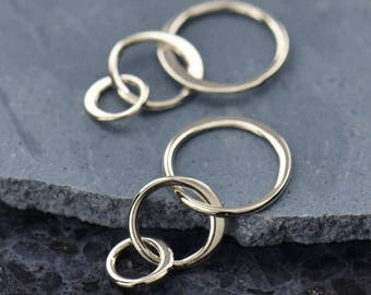 Small Three CIrcle Connector Link Sterling Silver Eternity Circles Links Connectors, 18mm x 10mm