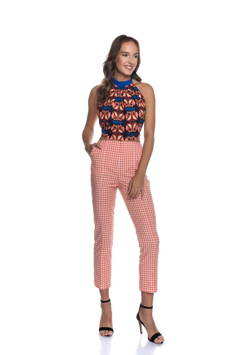 1960s Pants – Top 10 Styles for Women Check Trousers|Vichy Women Pants|Vichy Check Trousers|Cotton Pants|Gingham Pattern Pants|Slim Fit Trousers|Cigarette Women Trousers|Capris $144.00 AT vintagedancer.com