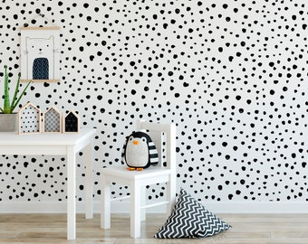 Self Adhesive Wallpaper Black Dalmation Dots Nursery Wallpaper Wall Mural Removable Wallpaper Wallpaper Peel And Stick