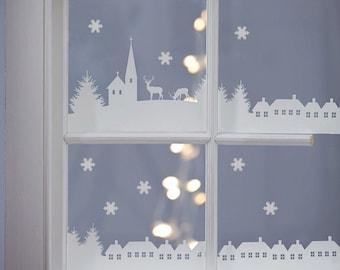 Wall Sticker Christmas Village Scene-Decal-Wall Sticker-Christmas-Xmas-Window stickers-Scenic Stickers-Village scene wall sticker