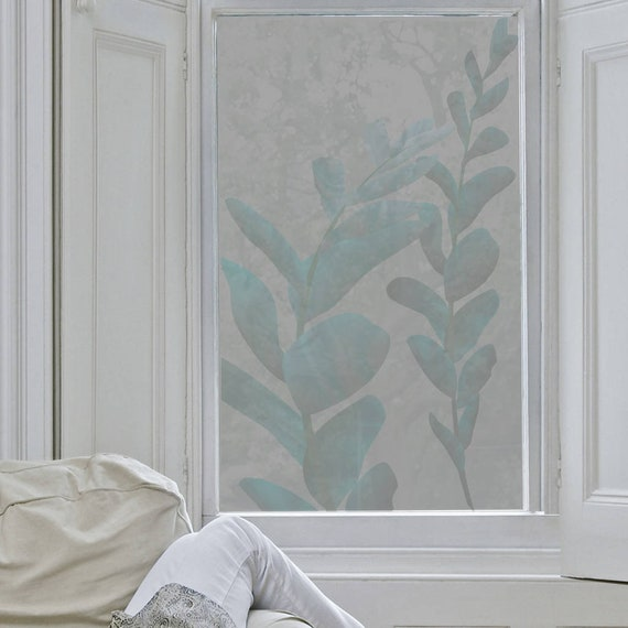 Botanical Frosted Window Film  Alternative Nets Or Blinds  Security &  Privacy Sandblasted Glass In Botanical Design