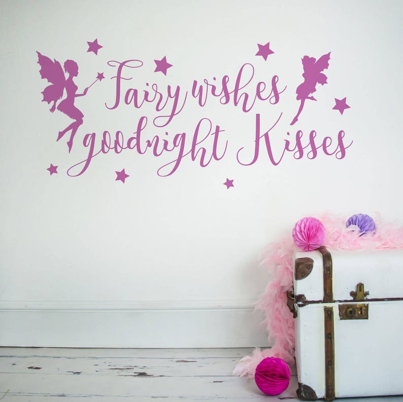 fairy wishes and goodnight kisses wall sticker wall stickers | etsy