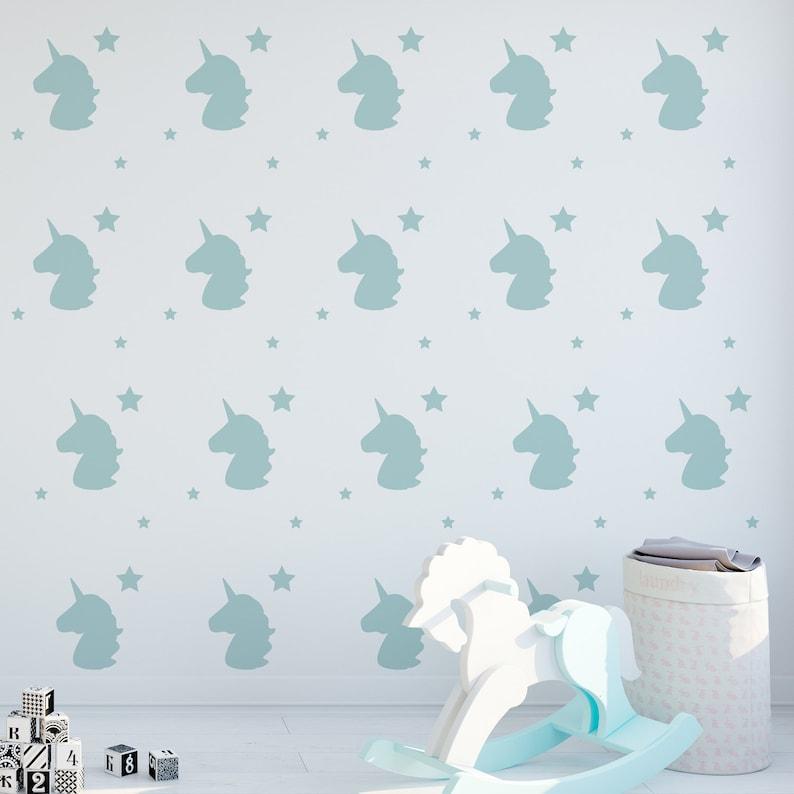 Little girls Bedroom /& Wall Art Unicorn And Stars Wall Sticker Decals