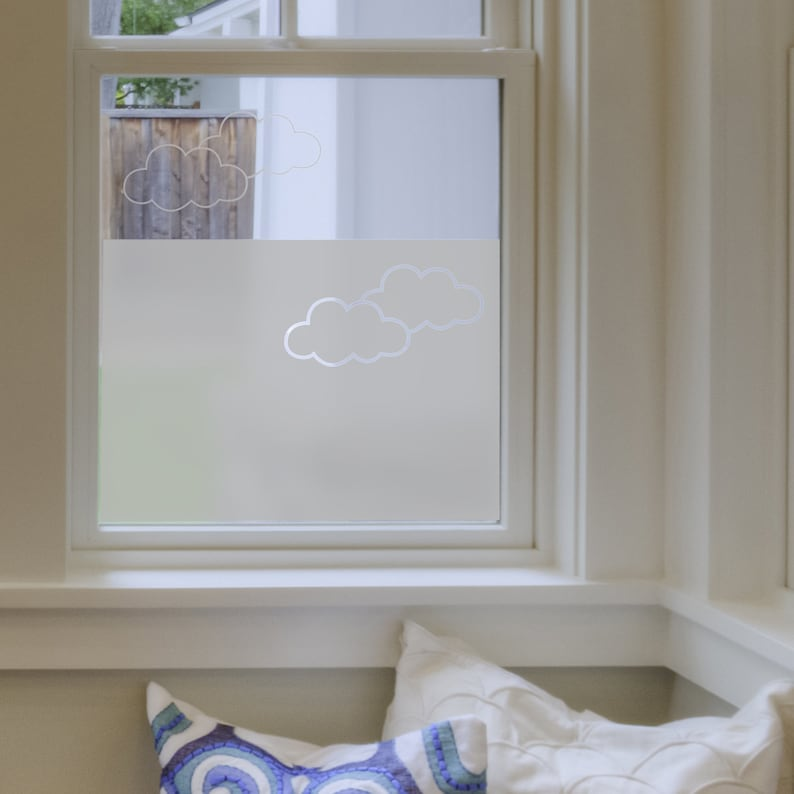 Frosted Window Film - Clouds - Bathroom Windows - Vinyl for Windows -  Decals - Window Film