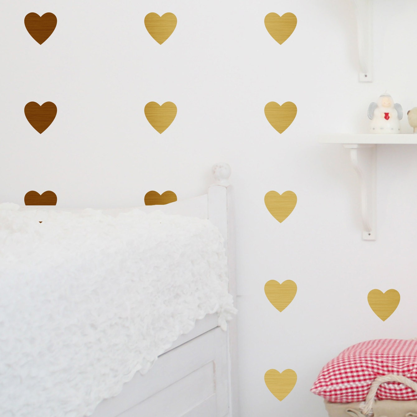 Metal Effect Confetti Hearts Wall Stickers Decoration Etsy