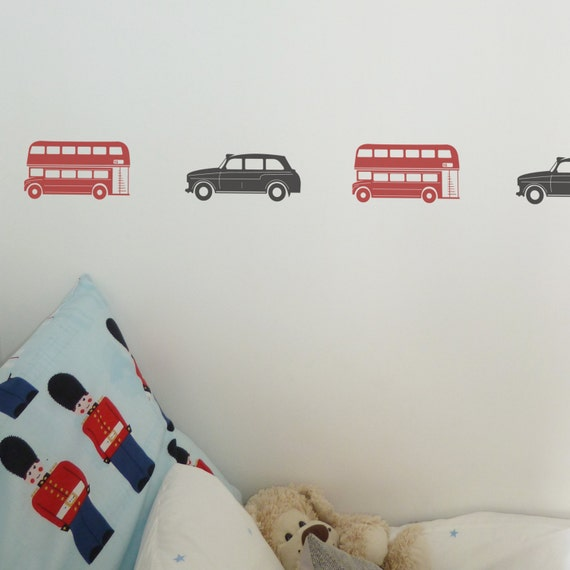 london bus or taxi wall sticker sets-wall decal-london bus | etsy