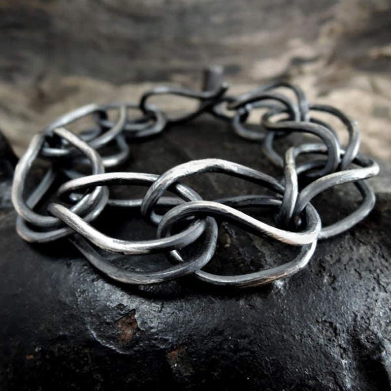 oxidized silver bracelet Statement chain bracelet