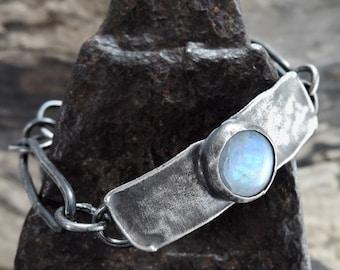 SALE!! Moonstone bracelet, silver bracelet, statement bracelet, , , raw bracelet, dark silver, rough, silver