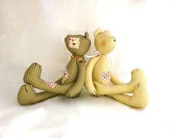 Clumsy bear soft toy in two different colours, teddy bear from dotted fabric, plush bear for boys and girls