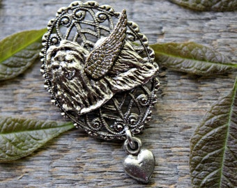 Shih Tzu Angel Pin, Shih Tzu Memorial, Loss of Shih Tzu, Pet Memorial Jewelry