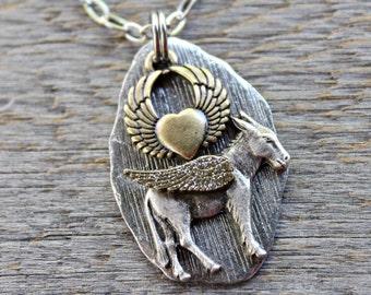 Donkey Necklace, Donkey angel, Burro Angel, Pet Donkey, Donkey Sympathy Gift
