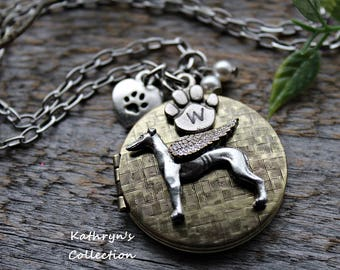 Greyhound Locket Necklace, Greyhound Whippet Jewelry, Pet Memorial Jewelry (see all five photos, read item details)