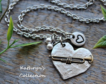 Trumpet Necklace, Trumpet Jewelry, Music Teacher Gift, Music Jewelry, Trumpeter, Music Jewelry, Musician