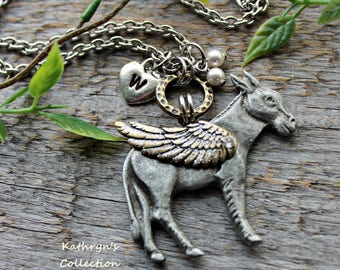 Donkey Necklace, Donkey Angel, Donkey Mule Burro Necklace, Pet Donkey, Donkey Sympathy