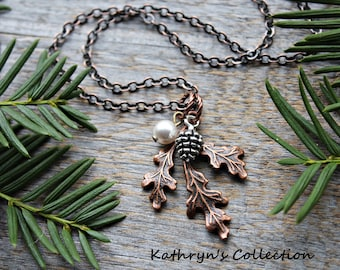 Winter Woods Necklace, Leaf Necklace, Pine Cone Necklace, Pine Cone Jewelry, Oak Leaf Necklace, Winter Bridal Necklace