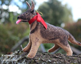 German Shepherd Hand-Stitched Felt Ornament Keepsake, GSD Keepsake, German Shepherd Gift, Dog sympathy Gift, New Puppy Gift, Personalized