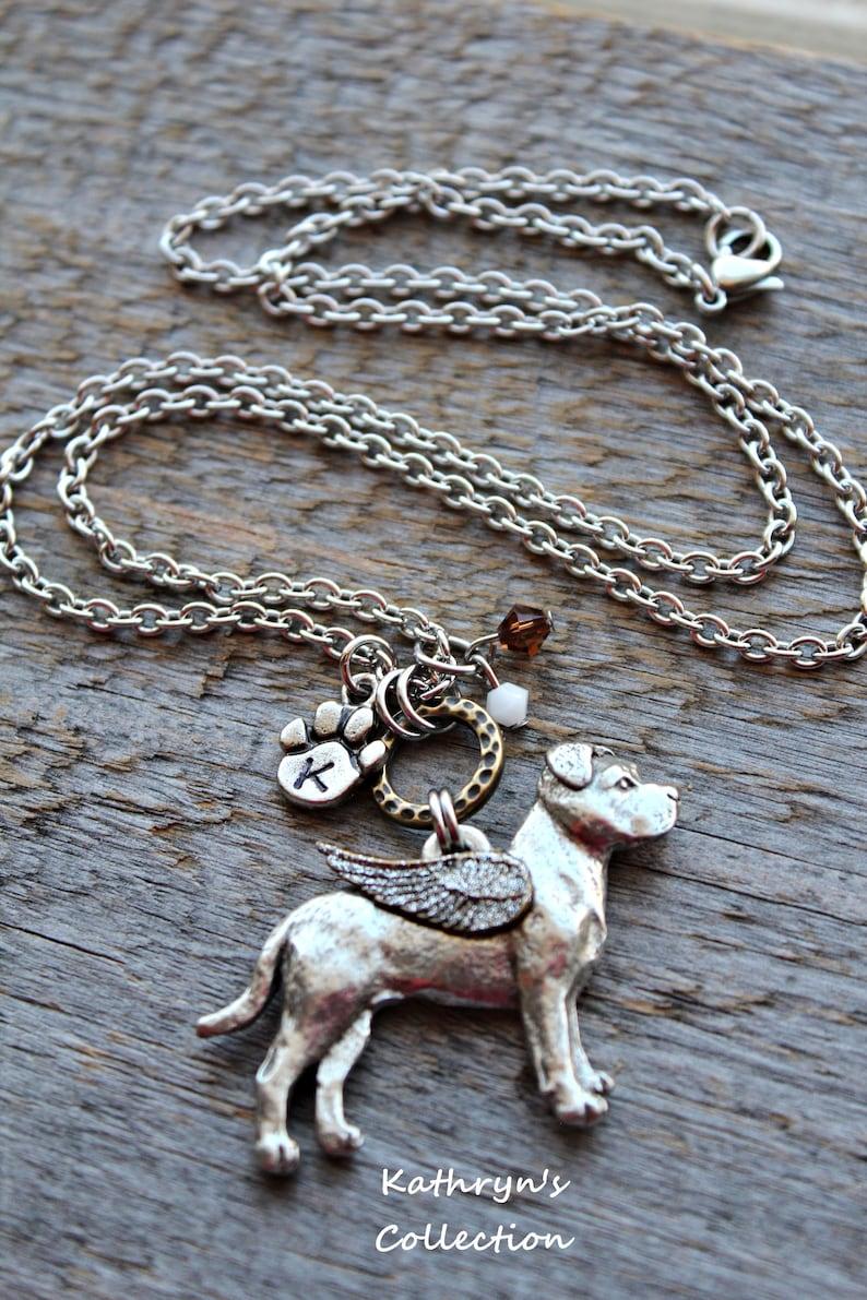 Pit Bull Natural Ears Pit Bull Memorial Necklace Pit Bull Angel Pit Bull Jewelry Pet Memorial Jewelry Read Full Listing Details