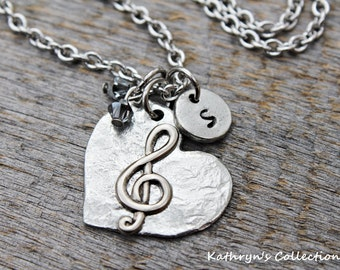 Treble Clef Necklace, Music Necklace, Music Note, Music Teacher Gift, Musician