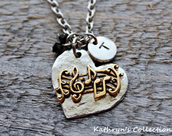 Music Necklace, Music Jewelry, Gift for Music Lover, Music Teacher Gift, Music Notes